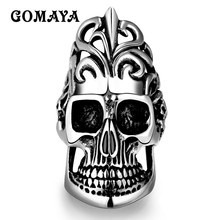 GOMAYA Big Skull Rings for Men Titanium Steel Vintage Punk Viking Skeleton Ring Hip hop Jewelry Anillos Party