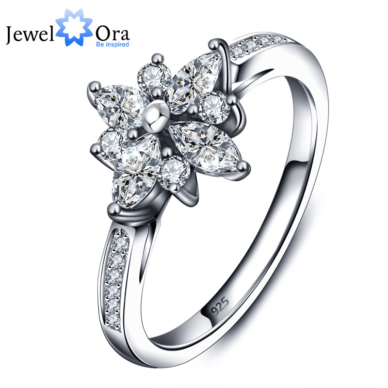 Engagement Rings 925-Sterling-Silver Wedding-Gift Flower-Design Cubic-Zirconia Fashion