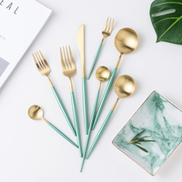 8Pcs Gold Green Cutlery Stainless Steel Dinner Knife Fork Set Tableware Metal Luxury Western Dinnerware Sets Cutleries