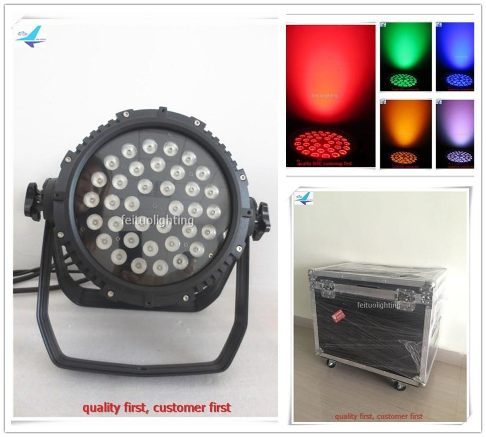 4pcs/lot flycase Outdoor IP65 36x10w Stage Led Par Light RGBW 4in1 Sound Active Par Can DMX DJ Disco Party Wedding Wash Lighting