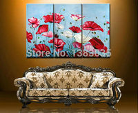 Hand Painted Abstract Red And White Flowers Poppy Paintings 3 Piece Wall Art Modern Oil Art Home Decor Picture Sets