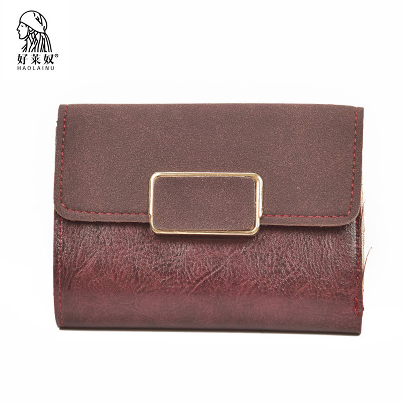 Haolainu Women Leather Wallet For Coin Card Cash Invoice Fashion Lady Small Purse Vintage Short Solid Female Clutch Mini Wallet weichen pink love heart short wallet purse for fashion lady lovely mini day clutch