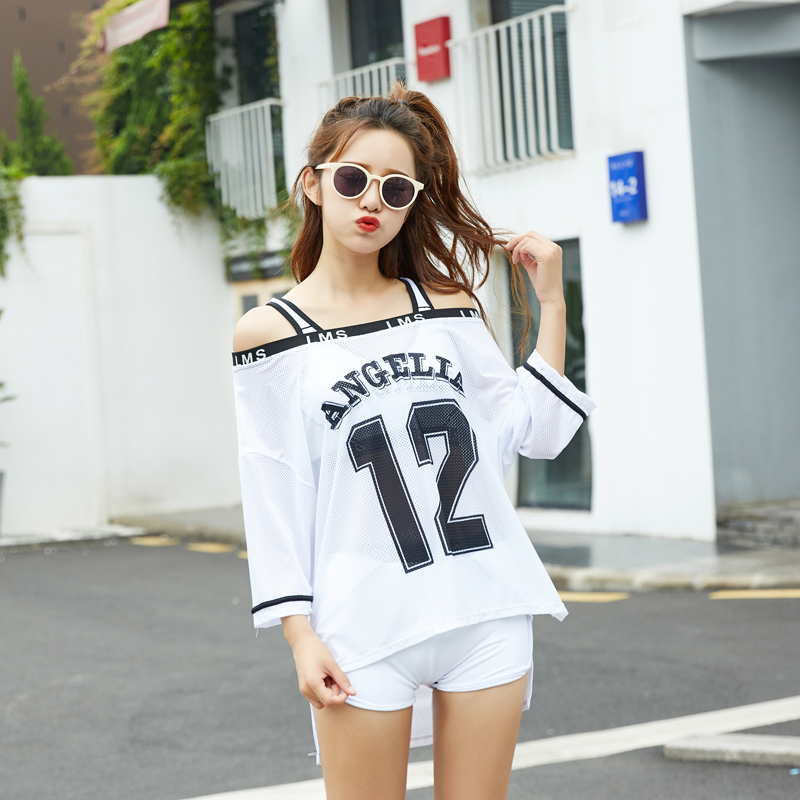 Summer Women Swimwear Three-Piece Number Letter Printing Falsies Bathing Suit Baggy T-Shirt Cover-Up White Black Beachsuit
