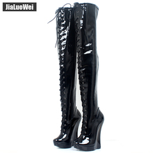 Brand New Extreme High 7/18CM Wedge Heels Crotch Boots Patent Leather Lace-up Fashion Sexy Platform Zip Thigh High Ballet Boots jialuowei new extreme 18cm 7 high heels fetish sexy ballet boots sex matt zip wedges leather over the knee thigh high boots