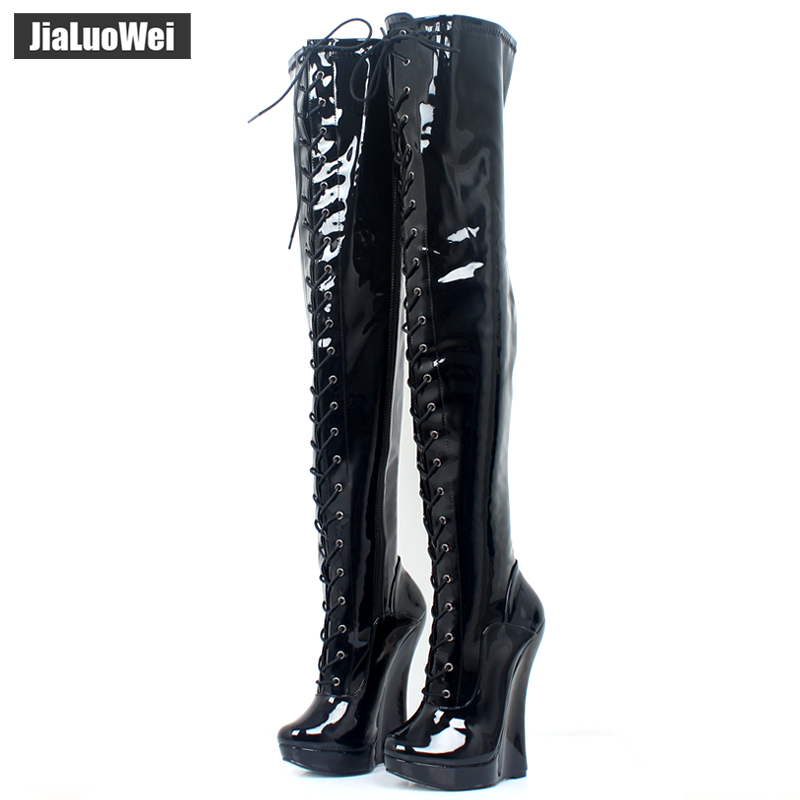 Brand New Extreme High 7/18CM Wedge Heels Crotch Boots Patent Leather Lace-up Fashion Sexy Platform Zip Thigh High Ballet Boots