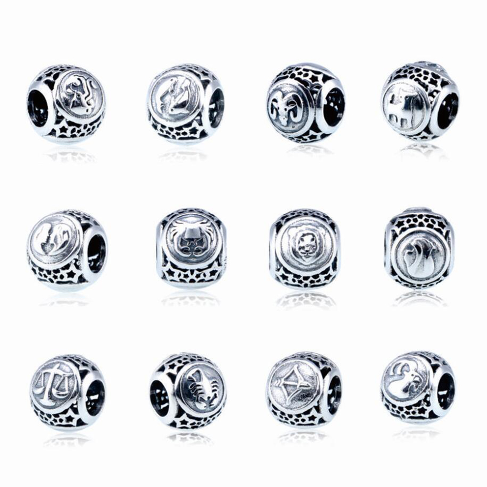 Authentic 925 Sterling Silver Openwork Vintage 12 Constellations Star Sign Beads Charm Fit Pandora Bracelet Bangle DIY Jewelry