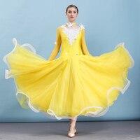 Modern Dance Costume Women Elegant Long Sleeve Waltz/Tango Dance Competition Dresses Ballroom Dance Clothes 6 Colors DQL1172