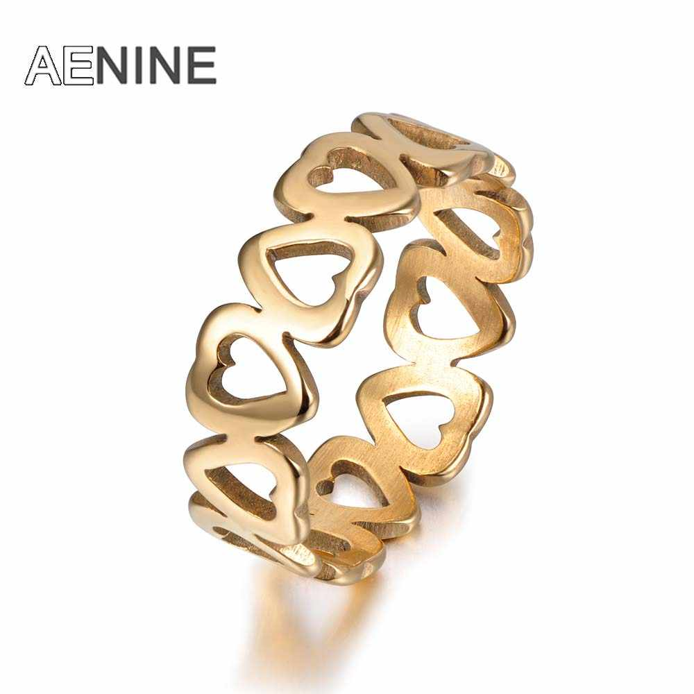 AENINE 316L Stainless Steel Hollow Heart-shaped Couple Rings Trendy Style Gold Color Women Ring Jewelry Anillo R171540050G