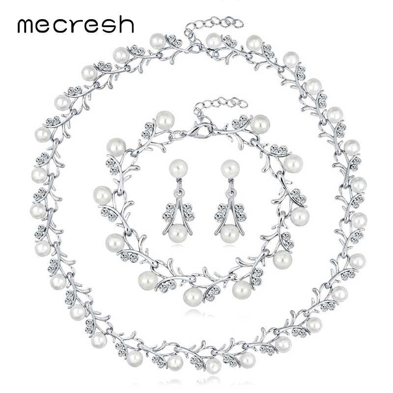 Mecresh Simulated Pearl Bridal Wedding Jewelry Set Women Silver/Gold Cute Small Branch Necklace Drop Earrings Bracelet Set TL578