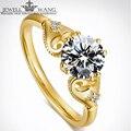 Jewellwang 18 k amarelo anéis de ouro 0.5ct diamante 0.01ct carat moissanites lado original de poker design anéis de noivado para as mulheres