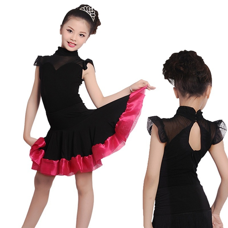 Kids Girls Dance Dress NEW Latin salsa Tango Cha cha Samba Ballroom mesh Stage Perform Dance Wear lemochic newest ballroom latin jazz belly cha cha dancing hot selling samba rumba pole salsa tango arena dancing dance shoes