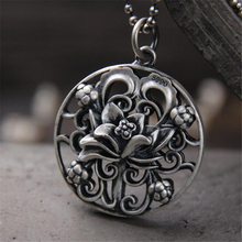 Vintage Jewelry Bohemian 990 Sterling Silver Necklaces Pendants Gypsy Ethnic Hollow Carved Metal Flower For Women Neckl