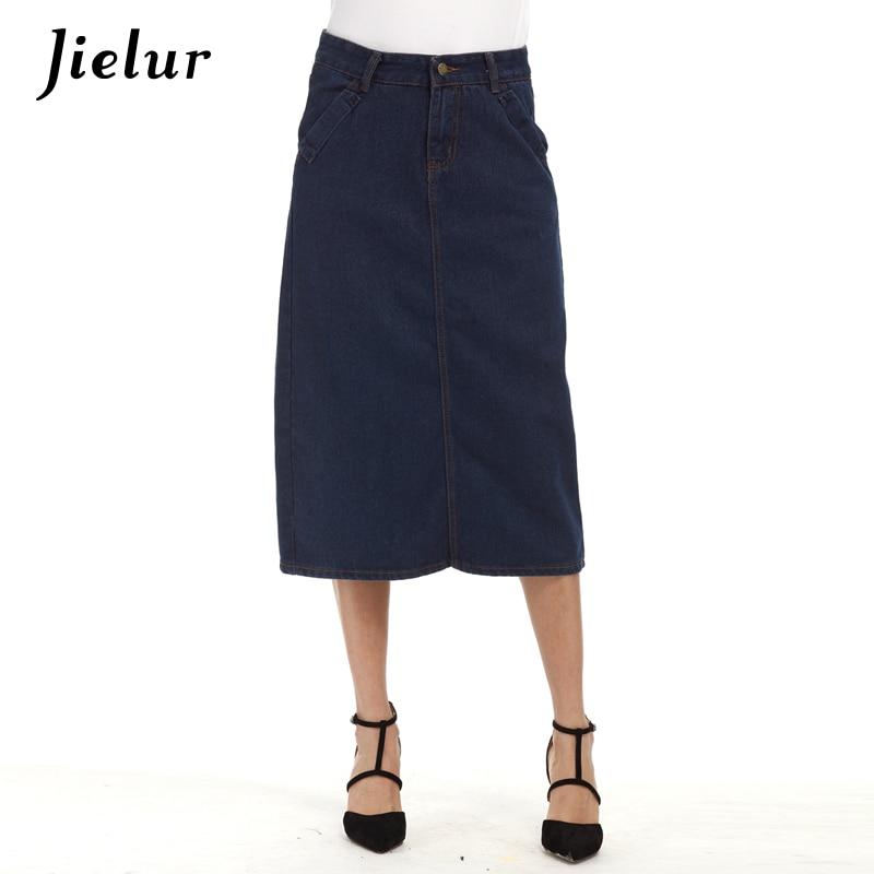 Jielur Solid Color Blue Denim Skirt Autumn Spring Leisure Jeans Midi Skirt Drak Blue Large Size S-5XL Women Skirts Lady Faldas