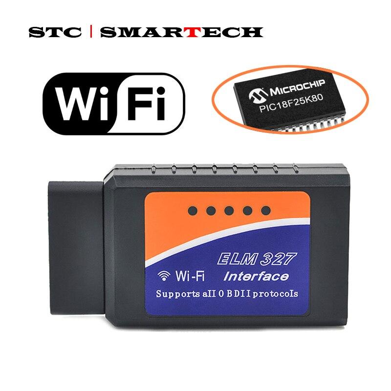 SMARTECH ELM327 OBD II WIFI OBD2 V1.5 Avec PIC18F25K80 Puce Voiture De Diagnostic OBD 2 ELM 327 Scanner WI-FI Pour Android/IOS/Windows