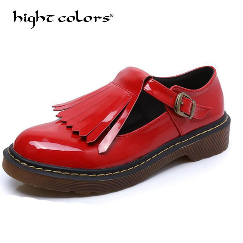 Big Size 34~43 Solid Patent Leather Women Oxfords British New Fashion Platform Flats Casual Buckle Strap Ladies Shoes Woman Hh88 hee grand solid patent leather women oxfords british new fashion platform flats casual buckle strap ladies shoes woman xwd5833