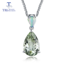TBJ, natural green amethyst quartz & opal Pendant with chain