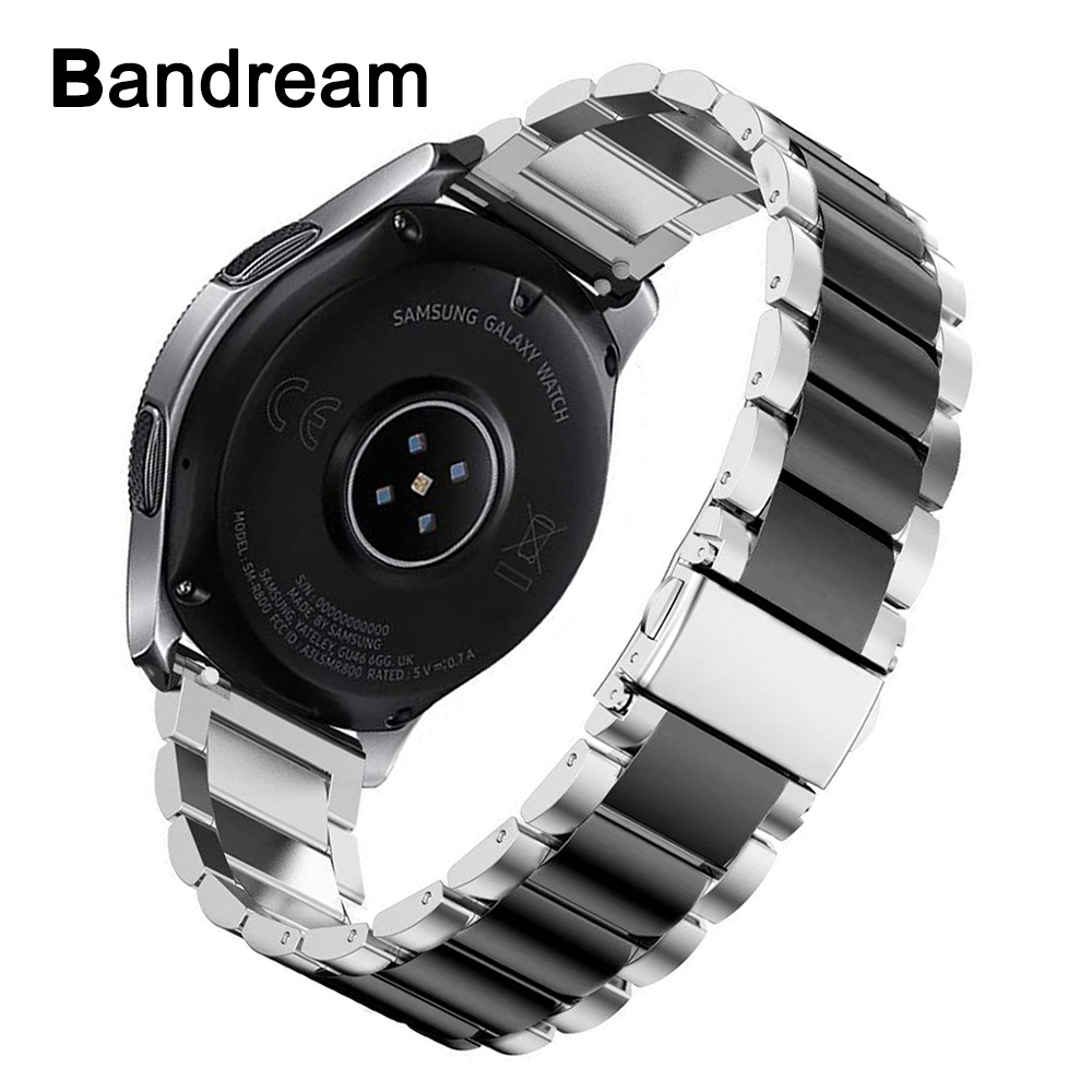 Premium Stainless Steel Watchband + Link Remover for <font><b>Samsung</b></font> Galaxy Watch <font><b>46mm</b></font> Gear S3 <font><b>Strap</b></font> Wrist Band Bracelet Silver Black image