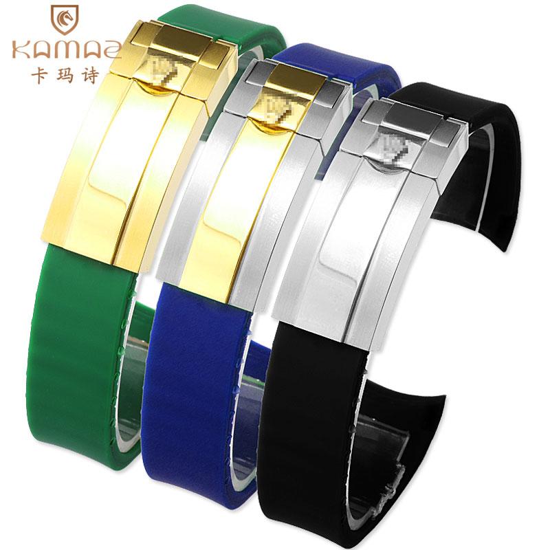 Bracelet de montre en caoutchouc Silicone noir de haute qualité en acier inoxydable résistant à l'eau et à la sueur