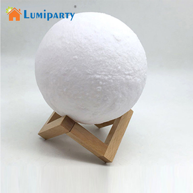 LumiParty Creative 3D Print Moon Lamp with Touch-Sensing Switch 3D Lunar Lamp Color Changeable Night Lights For Decoration
