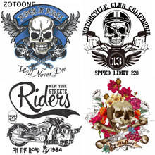 ZOTOONE Fashion Cool Tactical Skull Patch for Clothing DIY Iron on Stickers Applique Heat Transfers Bike Custom Patches Stripes
