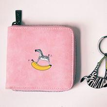 Zwierzę mleko krowa Zebra Dolphin Fox Penguin drukuje krótkie portfele Girl Zipper PU wysokiej jakości Fresh Lady portmonetki Agile Cut Money Bag tanie tanio Zamek Odbitki zwierzęce Moda Cartoon Printing Dziewczyny 10 5 cm 10 cm Coin Pocket Card Holder Photo Holder Note Compartment