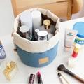 Nueva Llegada En Forma de Tonel de Viaje de Nylon Bolsa de Cosméticos de Alta Capacidad Con Cordón Elegante Tambor de Lavado Bolsas de Maquillaje Bolsa de Almacenamiento Organizador