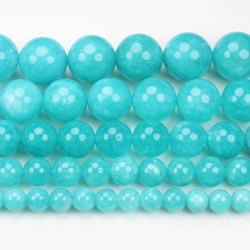 Naturalny niebieski amazonit Jades, 6-14mm okrągłe koraliki 15 cal, hurtownia dla DIY biżuteria darmowa dostawa!