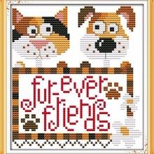 Forever Friends Dog Cat Animal DMC Cross Stitch Kits Accurat