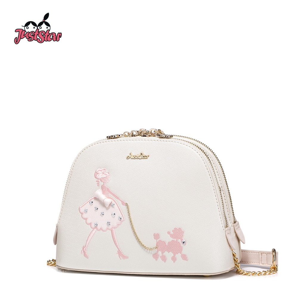 JUST STAR Women's PU Leather Messenger Bag Ladies Beading Shoulder Bags Female Embroidery Pet Dog Shell Crossbody Purse NZ4485 just star women s pu leather messenger bags ladies embroidery shoulder purse female chain leisure whale crossbody bags jz4468
