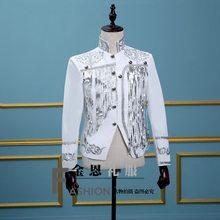 69da0c30ac5 Бар певец рубашка DJ председательствовал на этапе атмосферу костюм вечернее  корейской версии мужского блестки бахромой куртка