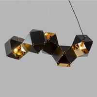 Geometric Metal Box Long Chandelier / Interconnected Silhouette Lamps / Black+Golden Interior