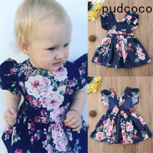2019 Fashion Toddler Kids Baby Girls Clothes Flower Backless Party Pageant Tutu Gown Dress Sundress Children Clothing