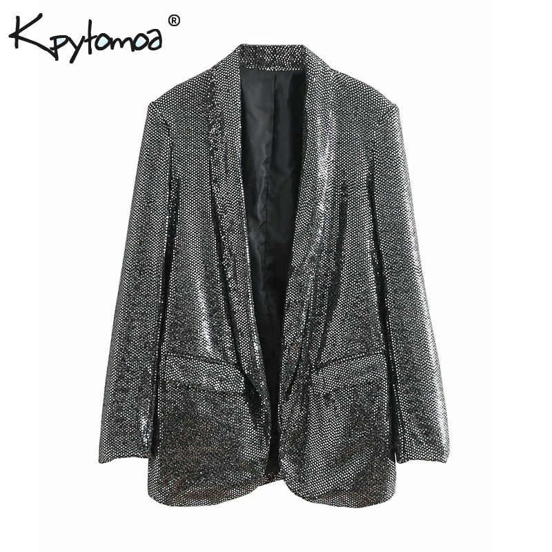 Vintage Stylish Sequins Blazers Coat Women 2019 Fashion Notched Collar Long  Sleeve Office Ladies Outerwear Casual 4bd486fe8f71