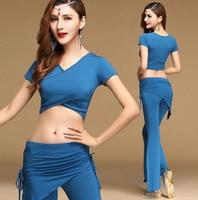 Сексуальная Модальные Восточный танец живота Bellydance Костюм Установить Crop рубашки топы, штаны для женщин индийский Одежда для танцев Одежда