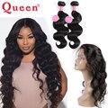 Queen hair products 360 fechamento frontal com pacote 3 pcs cabelo brasileiro virgem com 360 fechamento de renda frontal onda do corpo brasileiro