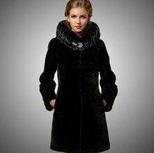 manufacture Warm Luxury 100% natural women fur Coat Sheep Shearing outerwear coats black winter Real mink Fur collar wholesale