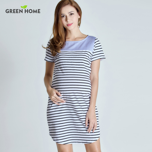 Green Home Maternity Short Sleeve Summer Dress Stripped Pregnancy For Pregnant Women Casual Styles