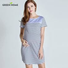 Green Home Maternity Short Sleeve Summer Dress Stripped Pregnancy Dress For Pregnant Women Casual Styles