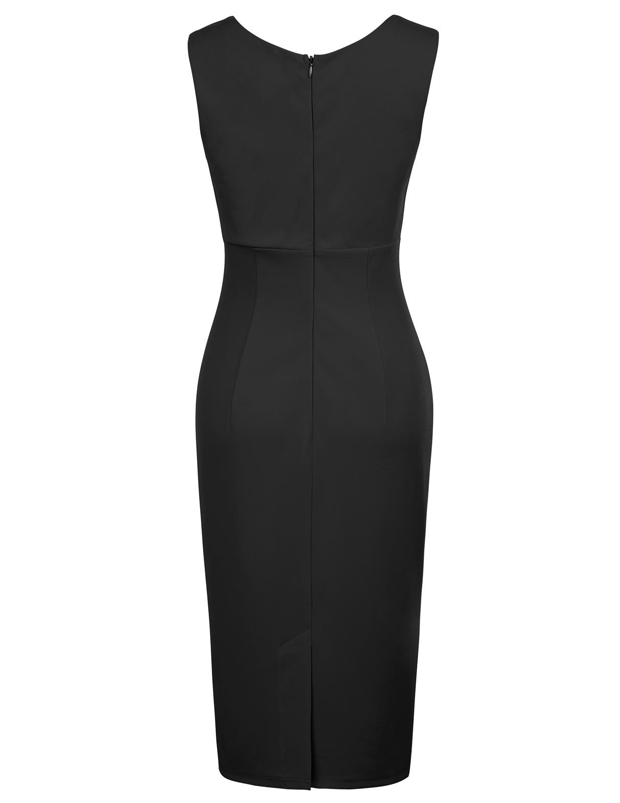 New Dress for Junior Pencil Retro Womens Slim Fit Plain V-neck Sleeveless 1950s