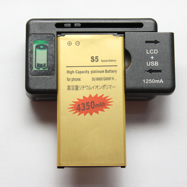 S5 i9600 Battery 2800mAh + USB Wall LCD Display Universal Battery Charger For Samsung Galaxy S5 i9600 G900 i9605 EB-BG900BBC