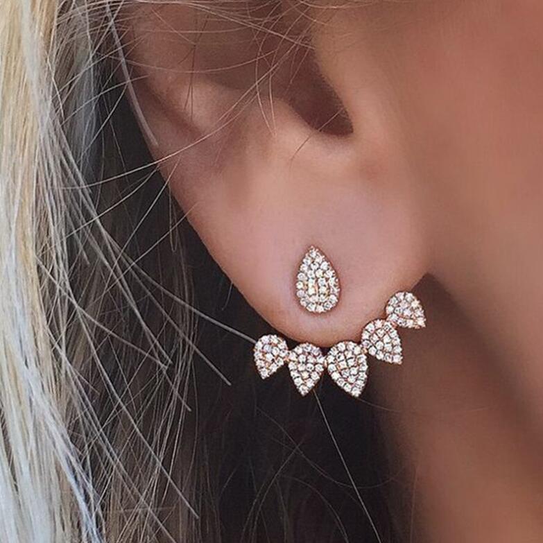 Jisensp Korean Jewelry Crystal Earrings Front Back Double Sided Stud Earrings for Women Cute Ear Jackets Piercing Earing bijoux