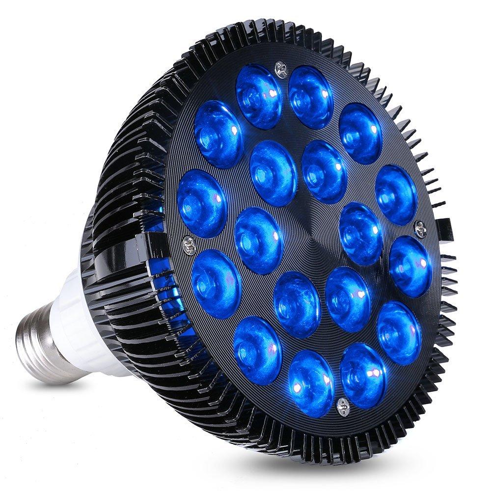 LED Aquarium Light 36W LED Plant Grow Light Bulb with 18x2W 450-460nm LEDs for Indoor Plants Veg and Aquarium Plants Growing