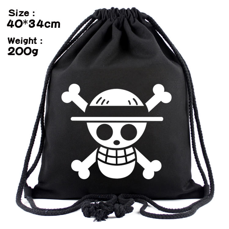 IVYYE One Piece White Logo Fashion Canvas Backpacks Cartoon Drawstring Backpack Casual String Bags shopping Knapsack