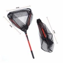 80cm Portable Folding Aluminum Fly Fishing Net Brail E-glass Triangular Frame Carp Fishing Landing Net Fish Trap free shipping
