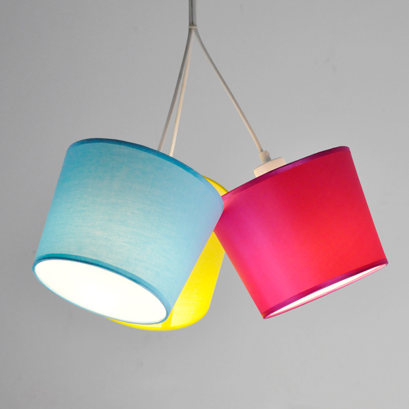 Modern Art Fabric Shade Pendant Lamp 3 Lights E27 Nordic Creative Metal Kid's Room Children Bedroom Hanging Light Fixtures PL626