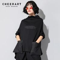 Cheerart Turtleneck T Shirt Women Spring 2019 Tailed Pocket Tee Shirt Femme Top Loose Plus Size Tshirt Streetwear