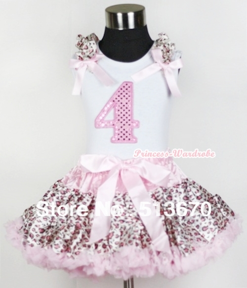 White Tank Top 4th Sparkle Light Pink Birthday Number with Light Pink Leopard Ruffles Bow Light Pink Leopard Pettiskirt MAMG551 white tank top with black rosettes leopard birthday cake with leopard ruffle page 4