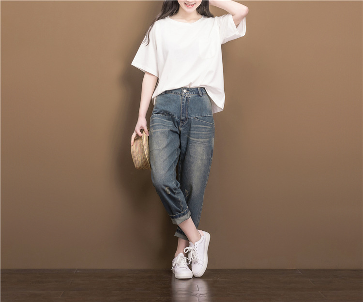 цены  Women Summer Loose Zipper Jeans 2017 High Quality Denim Trousers Female New Retro Slim-type Denim Pants Pockets Scratched