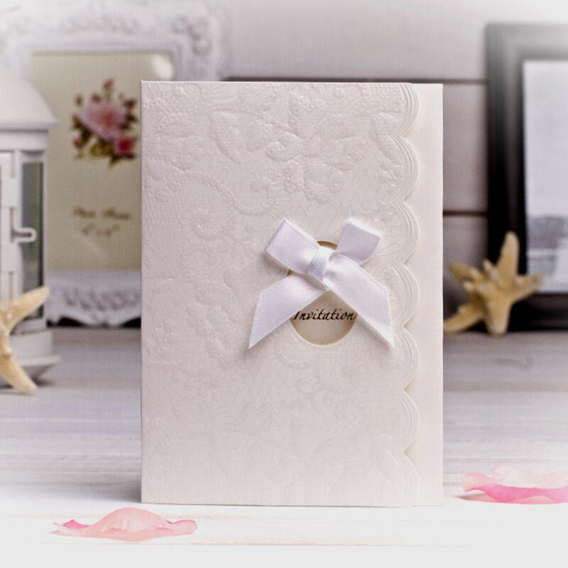 Us 18 6 20pcs Lot New Embossing Pearl Paper Card White Wedding Engagement Invitation Card With Blank Inner Page And Envelope In Cards Invitations
