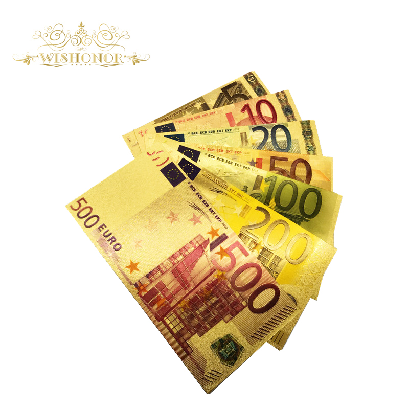 7pcs/lot Color Euro Banknote Sets 5 10 20 50 100 200 500 EUR Gold Banknotes in 24K Gold Fake Paper Money for Collection
